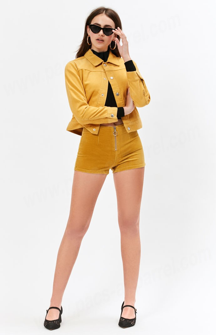 Champion Woman Mustard Pacsundijon Corduroy Cropped Trucker Coat - -3