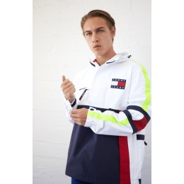 Diamond Supply Co Man White Tommy Jeans&#;90S Sailing Colorblock Half Zipper Anorak