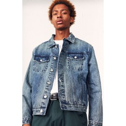 Diamond Supply Co Mens Medium Indigo Pacsunclassic Medium Denim Trucker Coats